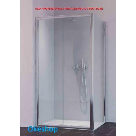 Box doccia estensibile 110/120 x70 con vetro temperato 6 mm. uso alberghiero