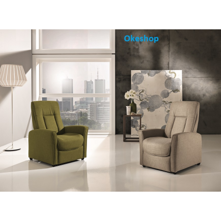 Poltrona Recliner con Meccanica Body Press colore Verde oliva